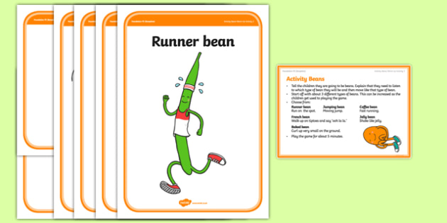 Foundation PE (Reception) Activity Beans Warm-Up Activity Card - physical activity, foundation stage, physical development, games, dance, gymnastics