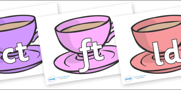 Final Letter Blends on Cups - Final Letters, final letter, letter blend, letter blends, consonant, consonants, digraph, trigraph, literacy, alphabet, letters, foundation stage literacy