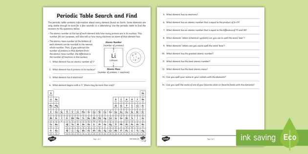 New periodic table search and find activity sheet new periodic table search and find activity sheet chemistry atoms molecules urtaz Choice Image