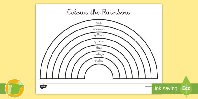 Ficha de actividad: lee y colorea el arcoiris en inglés