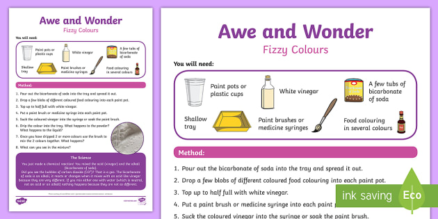 Fizzy Colours Awe and Wonder Science Activity - science, activity