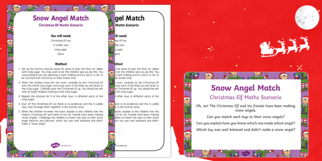 Snow Angel Match Christmas Elf Maths Scenario