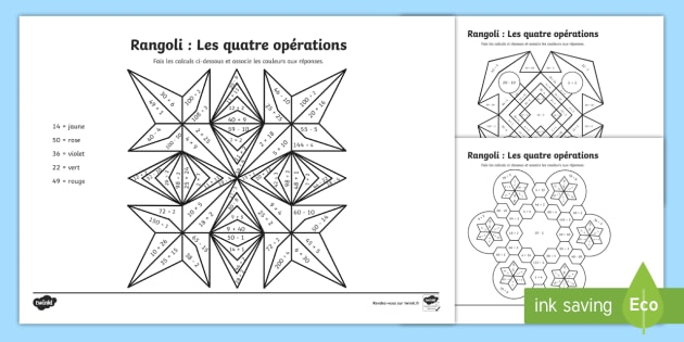 Coloriage Magique Calcul Addition.Rangoli Les 4 Operations De Calcul Coloriage Magique