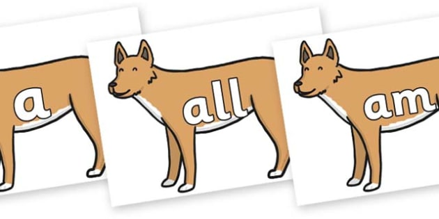 Foundation Stage 2 Keywords on Dingo - FS2, CLL, keywords, Communication language and literacy,  Display, Key words, high frequency words, foundation stage literacy, DfES Letters and Sounds, Letters and Sounds, spelling