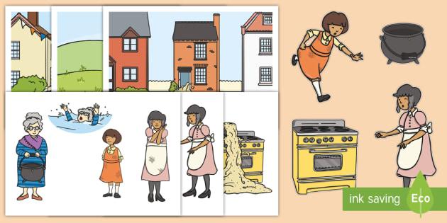The Magic Porridge Pot Story Cut Outs - magic, porridge, pot, little girl, lady, magic pot, sequencing, cut out, cut outs, cutting, story resources, story book, cook, magic words