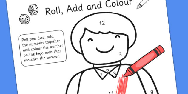 Toy Figure Roll Addition Colour Activity - adding, numeracy, maths