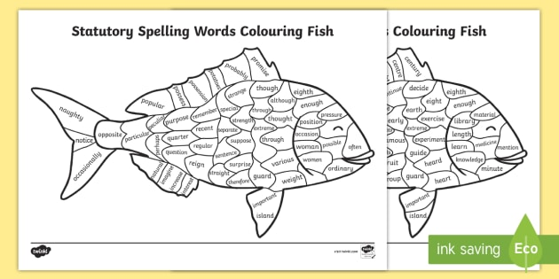 year 3 and 4 statutory spelling words colouring fish worksheet year 2. Black Bedroom Furniture Sets. Home Design Ideas