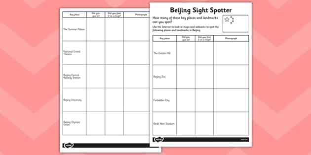Beijing Sight Spotter Activity Sheet - beijing, sight, spotter, activity, worksheet
