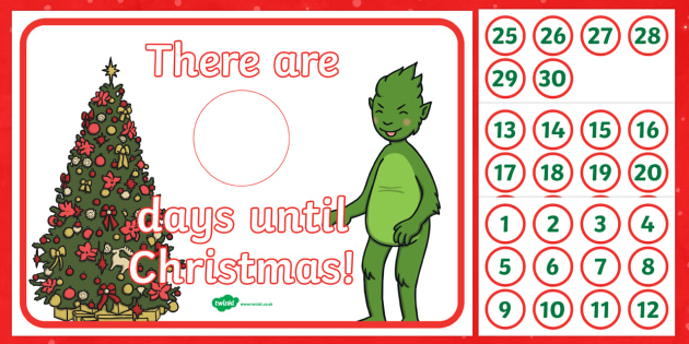 The Christmas Imp Countdown to Christmas Display Sign - The Christmas Imp, the grinch,thegrinch who stole christmas, christmas, green, imp, time, countdown
