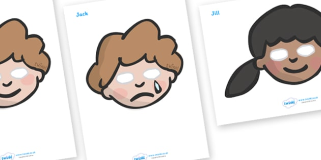 Jack and Jill Role Play Masks - Jack and Jill, role play mask, role play, nursery rhyme, rhyme, rhyming, nursery rhyme story, nursery rhymes, Jack and Jill resources