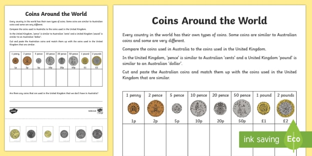 coins around the world cut and paste worksheet activity sheet. Black Bedroom Furniture Sets. Home Design Ideas
