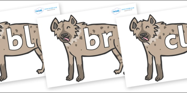 Initial Letter Blends on Hyenas - Initial Letters, initial letter, letter blend, letter blends, consonant, consonants, digraph, trigraph, literacy, alphabet, letters, foundation stage literacy
