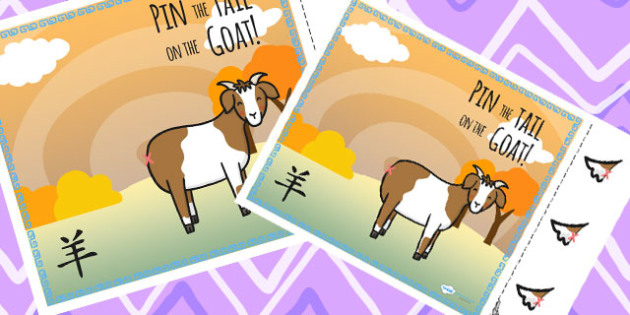 Chinese New Year Pin the Tail on the Goat Activity - Activities