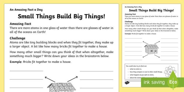Small Things Build Big Things Worksheet / Activity Sheet