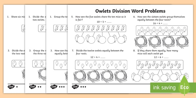 owlets division word problems differentiated worksheets. Black Bedroom Furniture Sets. Home Design Ideas