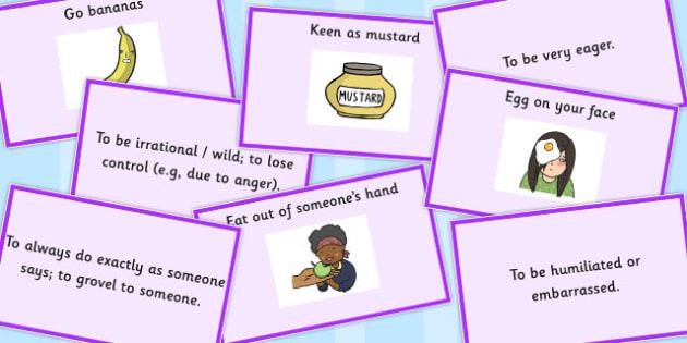 Food Idioms Matching Cards Set 3 - food, idioms, matching, cards