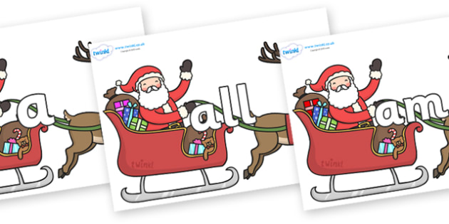 Foundation Stage 2 Keywords on Santa on Sleigh - FS2, CLL, keywords, Communication language and literacy,  Display, Key words, high frequency words, foundation stage literacy, DfES Letters and Sounds, Letters and Sounds, spelling