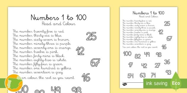 Ficha De Actividad Lee Y Colorea Los Números 1 100 En Inglés Colores