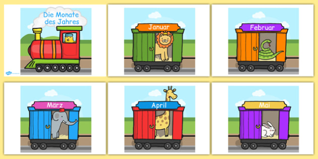 Die Monate die Jahre on an A4 Train German - german, months of the year, months, year, a4, train, display