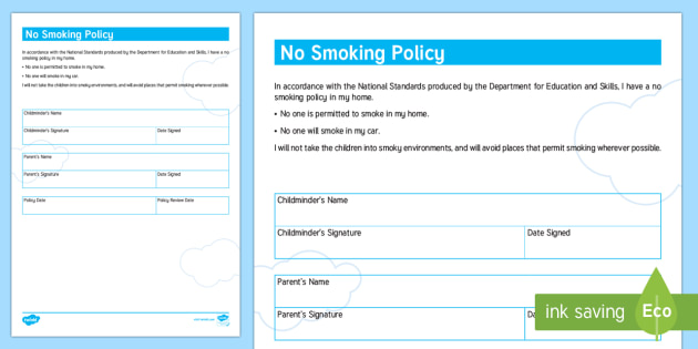 Childminder No Smoking Policy - child minder, rules, health