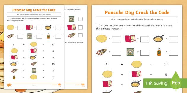 Ks1 Pancake Day Crack The Code Worksheet Activity Sheet