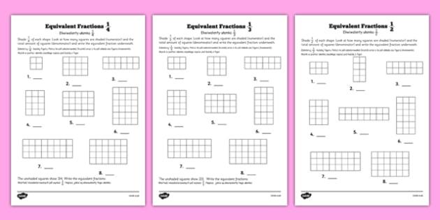 Equivalent Fractions Worksheet Polish Translation - polish, equivalent fractions, worksheet