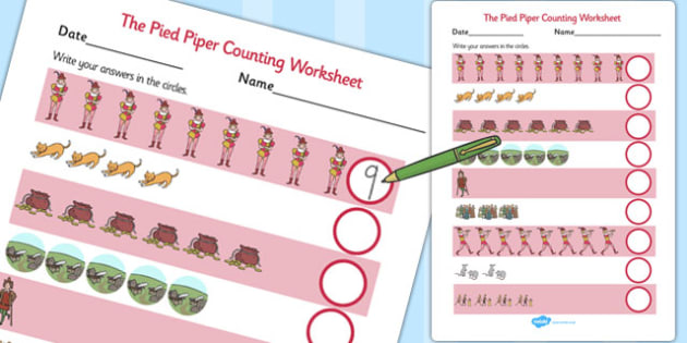 The Pied Piper Counting Sheet - counting, sheet, pied piper
