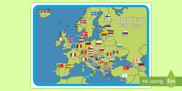 Map Of Europe With Flags Display Poster Map Of Europe Poster Map