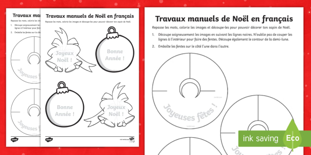 french christmas crafts worksheet activity sheets french. Black Bedroom Furniture Sets. Home Design Ideas