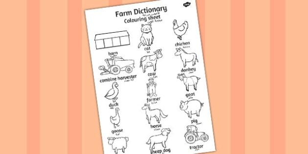 ورقة تلوين قاموس زراعي إنجليزي عربي
