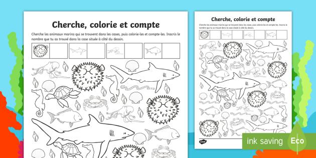 Fiche De Numeration Compter Et Colorier Les Fonds Marins