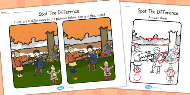 Autumn Spot the Difference Activity - seasons, activities, games