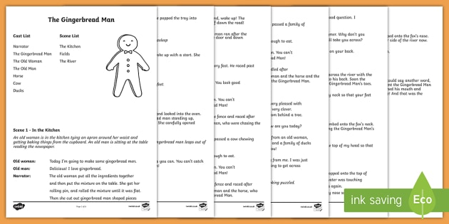 The Gingerbread Man Playscript - KS1 English, playscript, traditional tales, gingerbread man, story, play