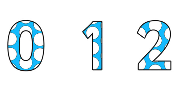 Blue and White Spotted Display Numbers (Small) - spotted display numbers, small spotted display numbers, spotty display numbers, spotted numbers