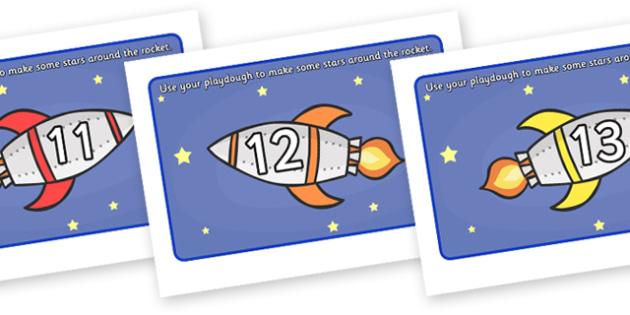Rocket Playdough Mat (11-20) - Number Playdough mat, playdough resources, numeracy, numbers, playdough
