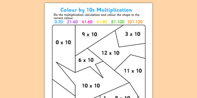 Colour by 10s Mulitiplication - times tables, colouring, multiply