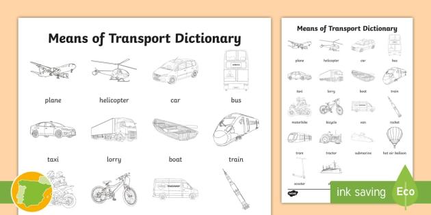 NEW * A2 Diccionario para colorear: Medios de transporte en