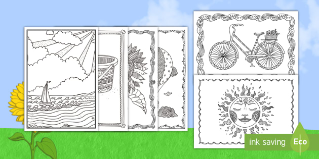 Summer Mindfulness Coloring Cards - color, holidays ...