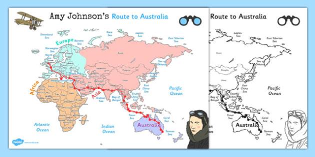 Amy Johnson Route to Australia Map - amy, johnson, australia