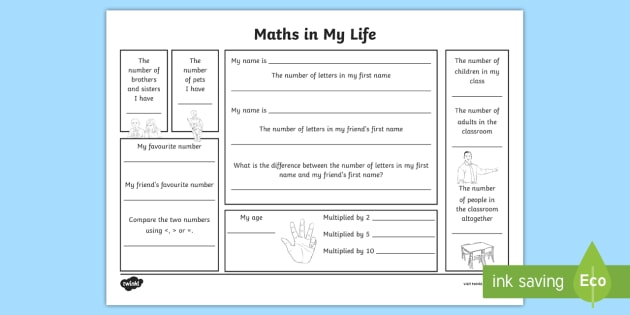 Year 2 Maths in My Life Worksheet - first week back, new ...