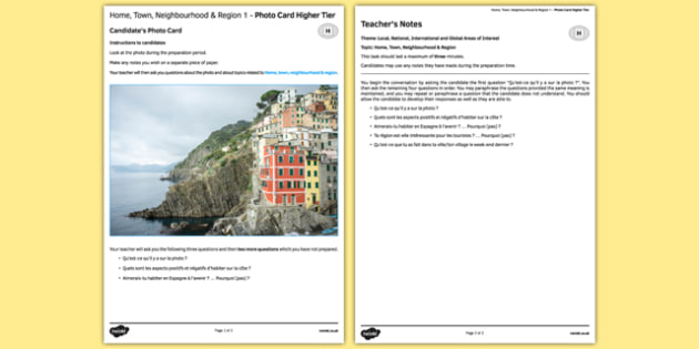 Home, Town, Neighbourhood and Region 1 GCSE Higher Tier Photo-Card French - Speaking, oral, house, picture, describe, description