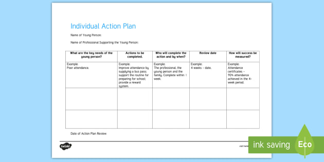 Individual Action Plan Young People U0026 Families Case File Recording Template    Young People U0026 Families  Individual Action Plan Template