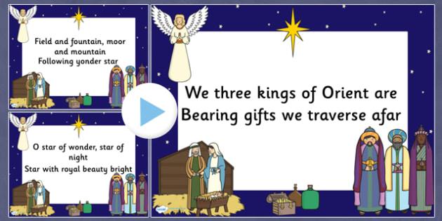 We Three Kings Lyrics PowerPoint - christmas, powerpoint, lyrics