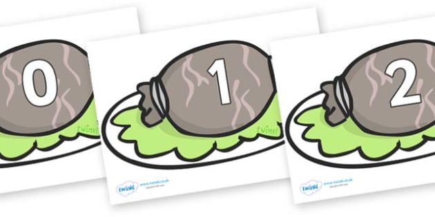 Numbers 0-50 on Haggis - 0-50, foundation stage numeracy, Number recognition, Number flashcards, counting, number frieze, Display numbers, number posters