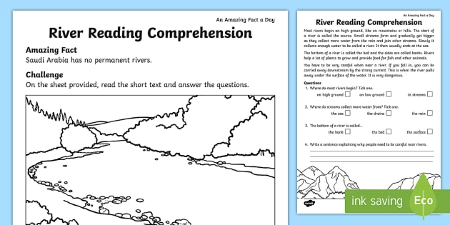 Rivers Reading Comprehension Worksheet / Worksheet - Amazing ...