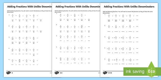 Add Fractions With Different Denominators Practice Activity