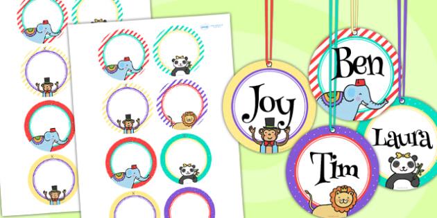 Animal Themed Birthday Party Name Tags - birthdays, parties, tags