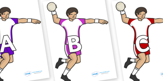 A-Z Alphabet on Handball Players - A-Z, A4, display, Alphabet frieze, Display letters, Letter posters, A-Z letters, Alphabet flashcards