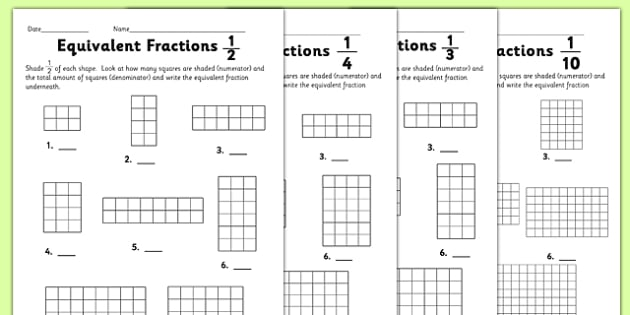 Equivalent Fractions Activity Sheet - equivalent fractions