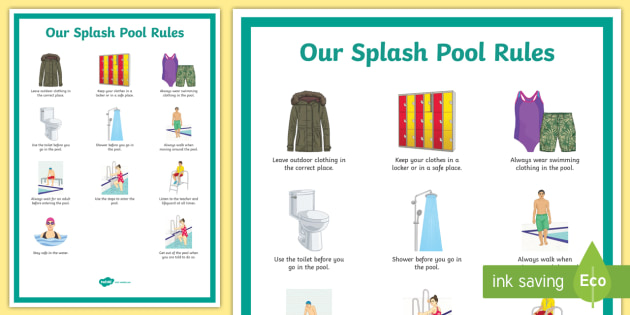 Splash Pool Rules Secondary Display Poster - SEN Resources, Special Educational Needs, Special School, Splash Pool, Swimming, Hydrotherapy, Physi